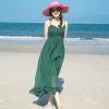 ชุดเดรสยาวสีเขียว ผ้าชีฟอง สายเดี่ยว แฟชั่นริมทะเล ชุดไปเที่ยวทะเล ลุคสวยเก๋ ดูดี