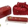 Plum Bento Box Japanese-style Set - เซตกล่องเบนโตะญี่ปุ่นลายดอกไม้ รวมชุดช้อนตะเกียบ สีแดง