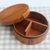Round Lacquered bending magewappa bento box กล่องข้าวเบนโตะญี่ปุ่นทรงกลมสีไม้เข้ม 1 ชั้น