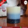 เทียนแท่งไร้กลิ่น 3ชั้น สีฟ้า ขนาด 2.5 * 2.5 นิ้ว