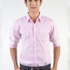 เสื้อเชิ้ตผู้ชายลายทางเล็กสีชมพู ผ้าคอตตอน