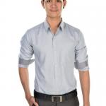 เสื้อเชิ้ตผู้ชายลายทางเล็กสีเทา ผ้าโพลี