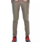 กางเกงสแล็คผู้ชายสีโอวัลติน ผ้ายืด ขาเดฟ