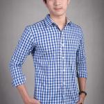 เสื้อเชิ้ตผู้ชายลายสก๊อตสีน้ำเงิน ผ้าคอตตอน