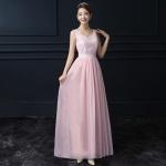 ชุดราตรียาวสีชมพู แขนกุด คอวี เป็นชุดออกงาน ชุดไปงานแต่งงานกลางคืน ธีมงานสีชมพูสวยหรู