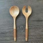 Japanese Wood Cuisine Food Set : ช้อนส้อมไม้ขนาดใหญ่ สำหรับปรุงอาหาร