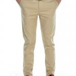 กางเกงสแล็คผู้ชายสีกากี ผ้ายืด ทรงกระบอกเล็ก