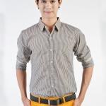 เสื้อเชิ้ตผู้ชายลายตารางสีเหลือง ผ้าคอตตอน