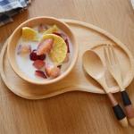 Japanese Wood plate จานถาดไม้ญี่ปุ่น มีหลุม