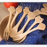 Wooden Cartoon Spoon and Fork set ช้อนไม้สลักลายการ์ตูน