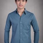 เสื้อเชิ้ตผู้ชายสีน้ำเงินอมเขียว ผ้า Oxford