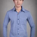 เสื้อเชิ้ตผู้ชายลายตารางสีน้ำเงิน ผ้าคอตตอน