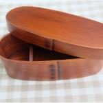 Slim Lacquered bending magewappa bento box กล่องข้าวเบนโตะญี่ปุ่นทรงยาวสีไม้เข้ม 1 ชั้น