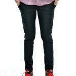 กางเกงสแล็คผู้ชายสีดำ ผ้ายืด ขาเดฟ