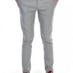 กางเกงสแล็คผู้ชายสีเทาควันบุหรี่ ผ้ายืด ขาเดฟ