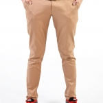 กางเกงสแล็คผู้ชายสีชานม ผ้ายืด ขาเดฟ