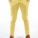 กางเกงสแล็คผู้ชายสีเหลือง ผ้ายืด ขาเดฟ