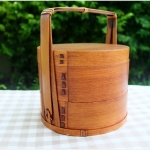 Round 2 stages Lacquered hand baskets bento box กล่องข้าวปิ่นโตญี่ปุ่นทรงกลมแบบมีมือจับ สีไม้เข้ม