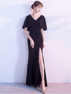ชุดราตรียาวสีดำ แขนระบาย เข้ารูป ลุคเรียบหรู สวยดูดี ใส่ออกงาน ไปงานแต่งงาน