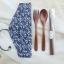 Japanese Chopsticks Spoon Classic Set - ชุดตะเกียบช้อนส้อมสีเข้ม พร้อมถุงผ้า
