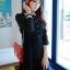 ชุดเดรสทำงานเกาหลีสั้นสีกรมท่า คอปกลายจุด แขนยาว เอวยืด กระโปรงอัดพลีท