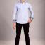 เสื้อเชิ้ตผู้ชายลายทางสีฟ้า ผ้าคอตตอน thumbnail 2