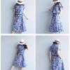 จั๊มสูทยีนส์ห้าส่วน ลายดอกชมพู กระเป๋าข้างพร้อมเชือกคาดเอว (อก 40)