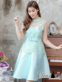 ชุดเดรสสวยหรูใส่ออกงาน ไปงานแต่งงานสีเขียวมิ้น ผ้าลูกไม้ปักเลิ่อมสีทอง คอปิด แขนกุด กระโปรงบานทรงสวย