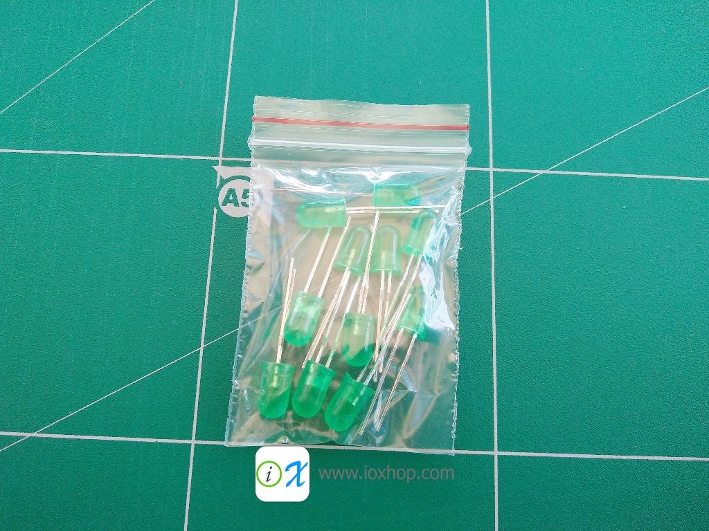 LED 5MM สีเขียว 10 ดวง