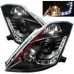 ไฟหน้าโปรเจคเตอร์ NISSAN 350Z 03-08 ดำ LED ยาว