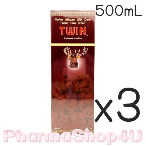 (ซื้อ3 ราคาพิเศษ) Twin ทวิน ยาน้ำสมุนไพร ผสมเขากวางอ่อน 500mL ใช้บำรุงร่างกาย บรรเทาอาการปวดเมื่อยตามร่างกาย ด้วยส่วนผสม เขากวางอ่อน โสม ตังกุย และอื่นๆ
