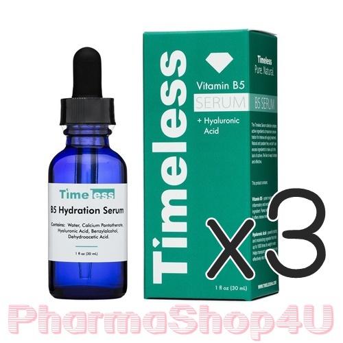 (ซื้อ3 ราคาพิเศษ) Timeless Vitamin B5 Hydration Serum With Hyaluronic Acid 30 ml. เซรั่มวิตามินบี 5 สกินแคร์ยี่ห้อยอดนิยมจากอเมริกา เน้นให้ความชุ่มชื่นกับผิว ลดการอักเสบ