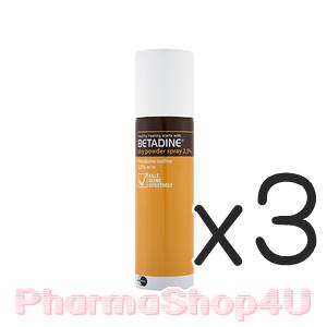(ซื้อ3 ราคาพิเศษ) Betadine Dry Powder Spray 55g เบตาดีนใส่แผล แบบพ่น ช่วยฆ่าเชื้อ สมานแผล พ่นในบริเวณที่ต้องการฆ่าเชื้อ พ่นสิวอักเสบ
