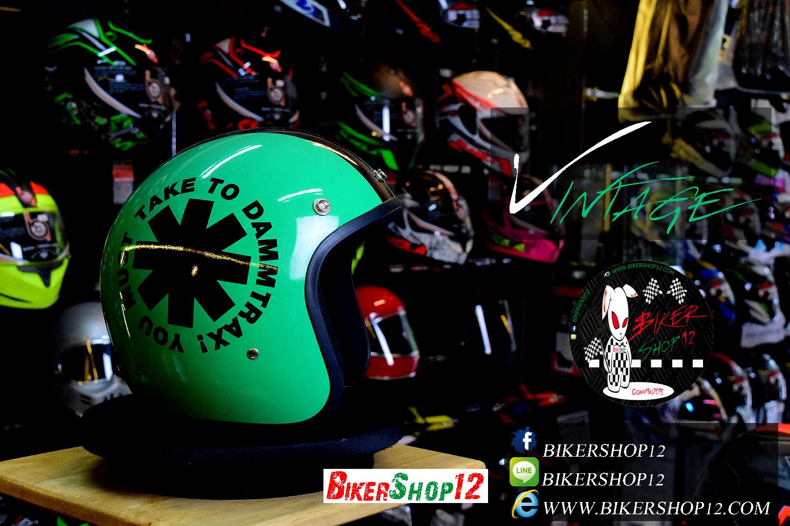 หมวกกันน็อคคลาสสิก 5เป๊ก สีเขียวอ่อนลายดำ (LB Speed Wheel) สำเนา