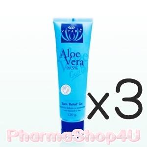 (ซื้อ3 ราคาพิเศษ) (สูตรเย็น) Vitara Aloe Vera Gel 99.5% Cool Gel 120g เจลว่านหางจระเข้เข้มข้น ลดการระคายเคือง เติมความชุ่มชื้นสำหรับผิวธรรมดา-แพ้ง่าย