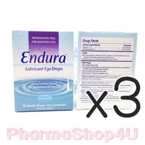 (ซื้อ3 ราคาพิเศษ) ENDURA LUBRICANT EYE DROPS 0.4 mL 30 TUBEs เอนดูร่า น้ำตาเทียม 0.4 mL 30 หลอด น้ำตาเทียม สำหรับคนตาแห้ง