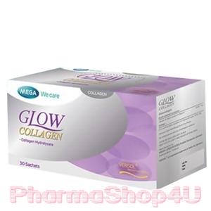 Mega We Care Glow Collagen 30ซอง Bioactive Collagen สูตรลิขสิทธิ์ Verisol ขาวเนียนใสในซองเดียว ไม่ต้องมิลลิกรัมเยอะแต่เห็นผลดีกว่า