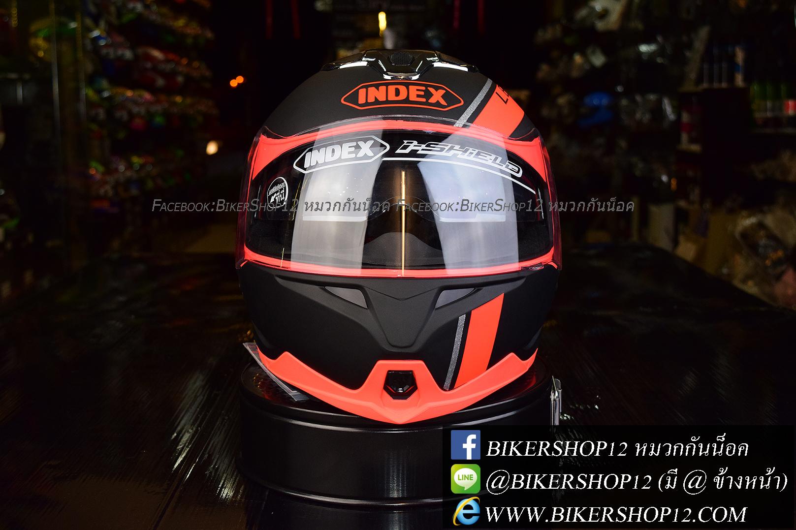 หมวกกันน็อค INDEX รุ่น Legenda i-shield สี BLACK-FROS/ORANGE