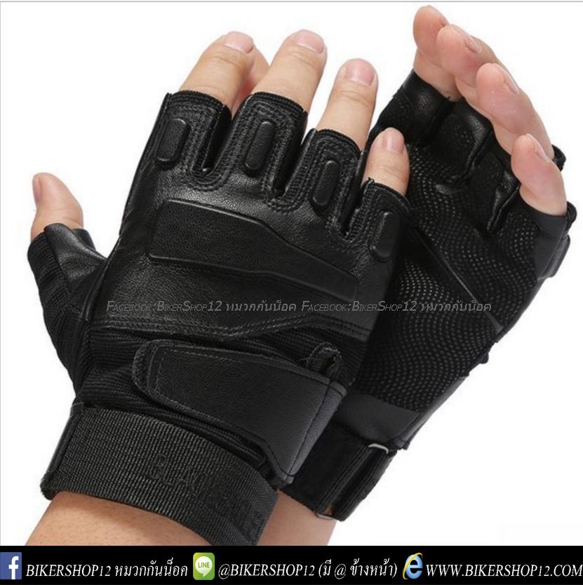 ถุงมือวินเทจ ครึ่งนิ้ว สีดำ (หนังPU)