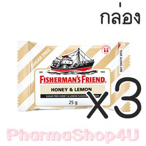 (ซื้อ3 ราคาพิเศษ) (ยกกล่อง 24ซอง) Honey&Lemon Fisherman's Friend Sugar Free Flavour Lozenges 25g ฟิชเชอร์แมนส์ เฟรนด์ ยาอม บรรเทาอาการระคายคอ กลิ่นน้ำผึ้งมะนาว