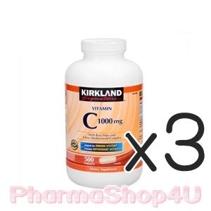 (ซื้อ3 ราคาพิเศษ) Kirkland Vitamin C 1000 mg 500 Tablets วิตามินซีเข้มข้นจากอเมริกา เพื่อเพิ่มภูมิต้านทาน ช่วยบำรุงผิวให้ขาวใส เสริมสร้างคอลลาเจนที่ผิว