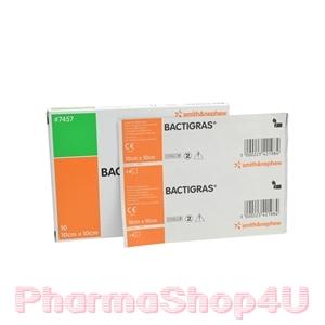BACTIGRAS (10*10CM) 1 กล่อง 10 ชิ้น แผ่นตาข่ายปิดแผลแบบมีสารฆ่าเชื้อ ใช้ง่าย ไม่ติดแผล ฆ่าเชื้อโรคได้ดี