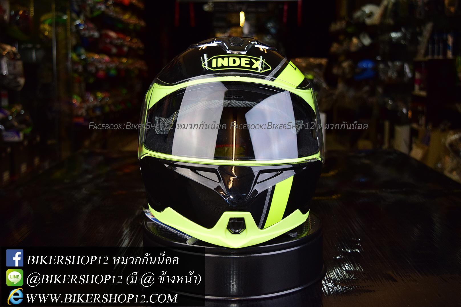 หมวกกันน็อค INDEX รุ่น Legenda i-shield สี BLACK-GREEN