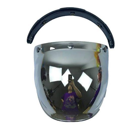Shieldหรือหน้ากากหมวกกันน็อค แนววินเทจ(เปิดหน้ากากได้)ทรง BUBBLE สีปรอทเงิน สำเนา