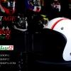 หมวกกันน็อคคลาสสิก 5เป๊ก สีขาวเงา (คาดแดง)
