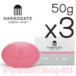 (ซื้อ3 ราคาพิเศษ) (Victorian Rose) HARROGATE Sulphur Soap 50g ฮาโรเกต สบู่ซัลเฟอร์ สบู่น้ำแร่ ใช้ได้ทั้งหน้าและตัว ปัญหาสิว ผิวมัน ผื่นคัน ผื่นแพ้ ผิวอักเสบ เอาอยู่