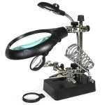 Third-hand tool with magnifying glass (LED)