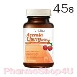 Vistra Acerola Cherry 1000mg 45เม็ด วิสทร้า อะเซโรลา เชอร์รี่ 1000มก วิตามินซีธรรมชาติ ปรับผิวขาวใส มี อย. ถูกต้อง