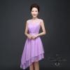 W7235 ชุดราตรีสั้นสีม่วง ผ้าชีฟอง แขนกุด สวยหรู ดูดี ใส่ไปงานแต่งงาน งานเลี้ยง งานบายเนียร์