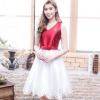 ชุดเดรสออกงาน ชุดไปงานแต่งงานทูโทนสีแดงขาว คอวี แขนกุด ปลายกระโปรงปักเป็นลายฉลุ แนวหวาน สวยหรู ดูดี